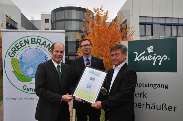 Bild von Kneipp als GREEN BRAND Germany ausgezeichnet