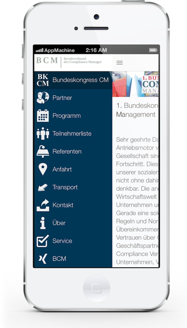 Bild von Compliance Manager e.V. und AppMachine stellen offizielle Konferenz-App