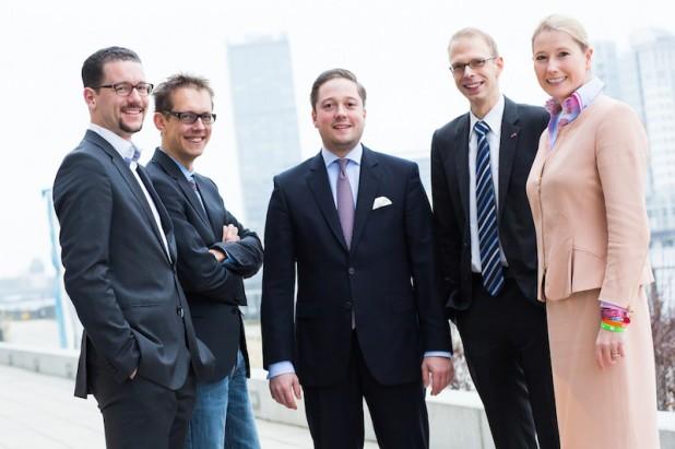 Das aktuelle Präsidium der Jungen Unternehmer aus Berlin: v.l.n.r. Sebastian von Waldow, Horst Ingmar Kilian, Fabian Freisberg, Kai Teute, Lencke Wischhusen. Foto: BJU