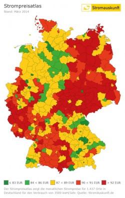 """Quellenangabe: """"Atlas für Strompreise, www.stromauskunft.de, Jörg Heidjann"""" / Weiterer Text über OTS und www.presseportal.de/pm/58601"""