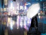 Der Hi-Reflective Umbrella bringt Licht in eine verregnete Nacht