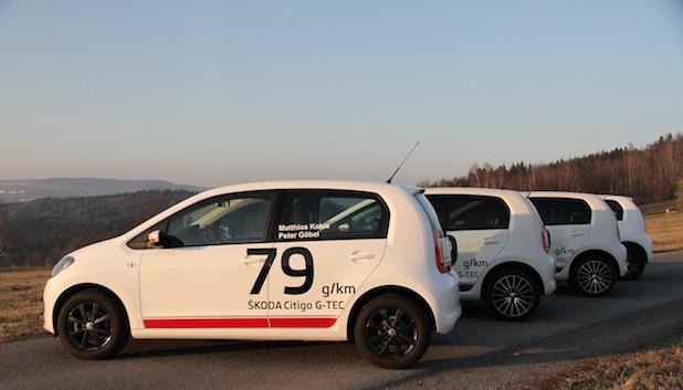 Bild von Vier SKODA Citigo G-TEC starten bei Rallye Monte-Carlo