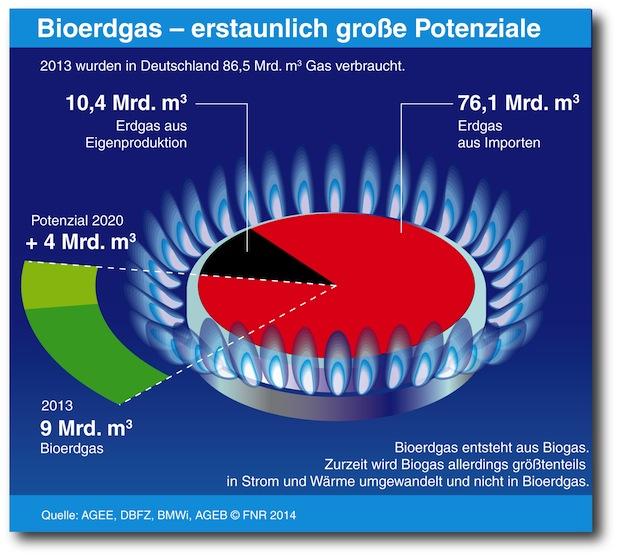 Bild von Bioerdgas könnte schon heute 10 Prozent des Erdgasverbrauchs in Deutschland ersetzen