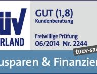 TÜV Saarland benotet Beratungsqualität und -prozesse mit 1,8
