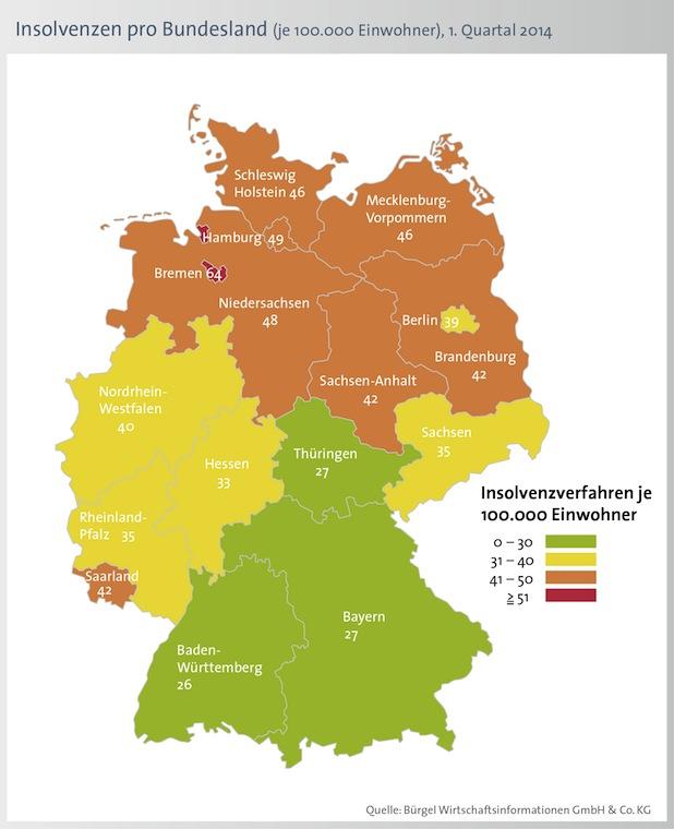 Bild von Weniger Privatinsolvenzen in Deutschland