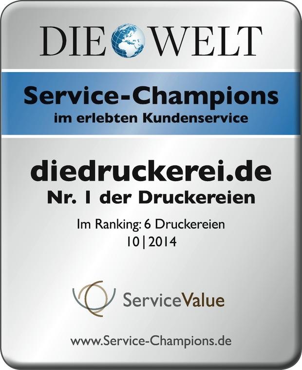 Bild von diedruckerei.de holt erneut den Titel bei Service-Champions 2014