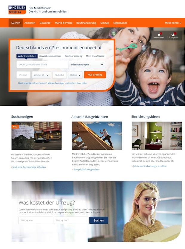 Bild von ImmobilienScout24 präsentiert sich mit neuer Startseite