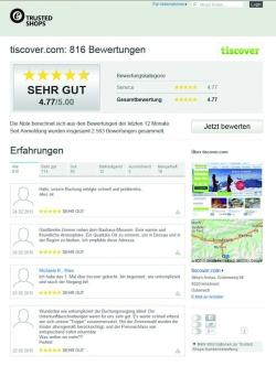 """BILD zu TP/OTS -  Das unabhängige Bewertungsportal Trusted Shops attestiert Tiscover für 2014 ein """"sehr gut"""" in puncto Kundenzufriedenheit."""