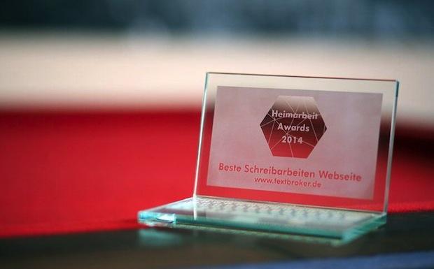 """Bild von Textbroker erhält Award """"Beste Schreibarbeiten-Webseite"""""""