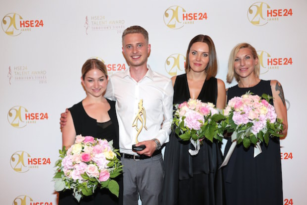 ISMANING, GERMANY - JULY 07: Finalists: Lena Schleicher, Winner HSE24 Talent Award Lars Harre (2ndL), Elena Trukhina, Stephanie Winterhalter during the 20 year anniversary event of the home shopping channel HSE24 at Ziegelei on July 7, 2015 in Ismaning, Germany. (Photo by Gisela Schober/Getty Images for HSE24)