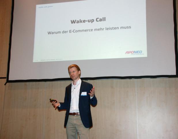 """""""Der E-Commerce in Deutschland kann sich fehlenden Mut nicht leisten"""", sagt Hartmut Deiwick von Aponeo auf dem E-Commerce-Tag in Berlin. - Quelle: APONEO Apotheke"""