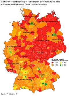 Umsatzentwicklung des stationären Einzelhandels bis 2020 auf Stadt-/Landkreisebene (Trend Online-Szenarien) - Quelle: IFH Institut für Handelsforschung GmbH
