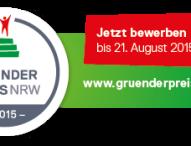 Jetzt noch bis zum 21. August für den GRÜNDERPREIS NRW 2015 bewerben!