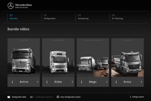 Die Truck Online Konfiguration beginnt mit der Auswahl der Baureihe. - Quelle: Daimler AG