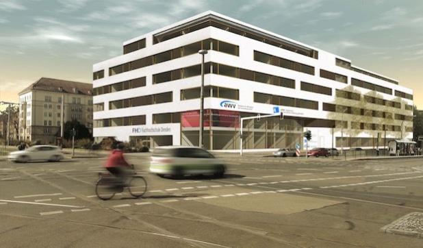 Das neue Gebäude wird die Fort- und Weiterbildung der AWV, die Berufsausbildung der AFBB und die Hochschulausbildung der FHD unter einem Dach vereinen. Die Visualisierung zeigt das künftige Aussehen des Komplexes am Straßburger Platz. Visualisierung: IPROconsult GmbH. - Medienkontor