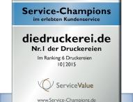 """diedruckerei.de zum dritten Mal als """"Service-Champion"""" ausgezeichnet Online-Druckerei erneut Branchen-Bester im erlebten Kundenservice"""