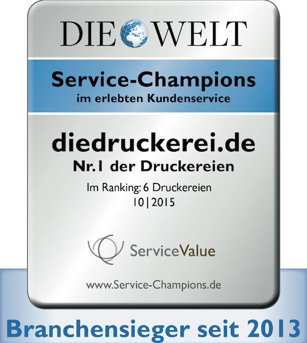 """Photo of diedruckerei.de zum dritten Mal als """"Service-Champion"""" ausgezeichnet Online-Druckerei erneut Branchen-Bester im erlebten Kundenservice"""