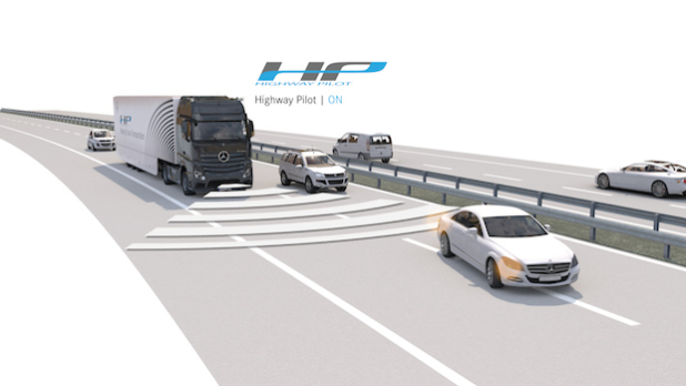 Mercedes-Benz Actros mit Highway Pilot auf der Autobahn (Highway Pilot ON) - Quelle: Daimler AG