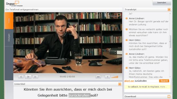 Deutsch im Beruf, hier: Telefonat entgegennehmen - Quelle: LinguaTVGmbH