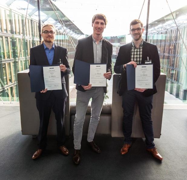 Die Gewinner des CBC-Förderpreises (v.l.): David F. Petersen (zweiter Platz), Lennart Renker (erster Platz) und Pascal Dung (dritter Platz). - Quelle: Dirk Schwarz / CBC