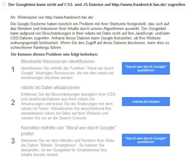 Google warnt Website-Betreiber via Webmaster Tools vor den Risiken gesperrter CSS- und JS-Dateien auf die eigenen Rankings. - Quelle: Online Solutions Group GmbH