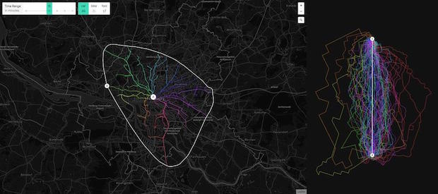 Bild von moovel lab visualisiert Verkehrsadern und Mobilitäts-Infrastrukturen