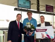 Flughafen Köln/Bonn begrüßt 10-millionsten Passagier