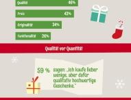 Qualität und persönlicher Bezug der Geschenke sind wichtiger als der Preis