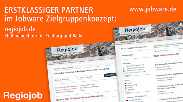 Bild von Regiojob vertraut im Stellenmarkt auf Jobware