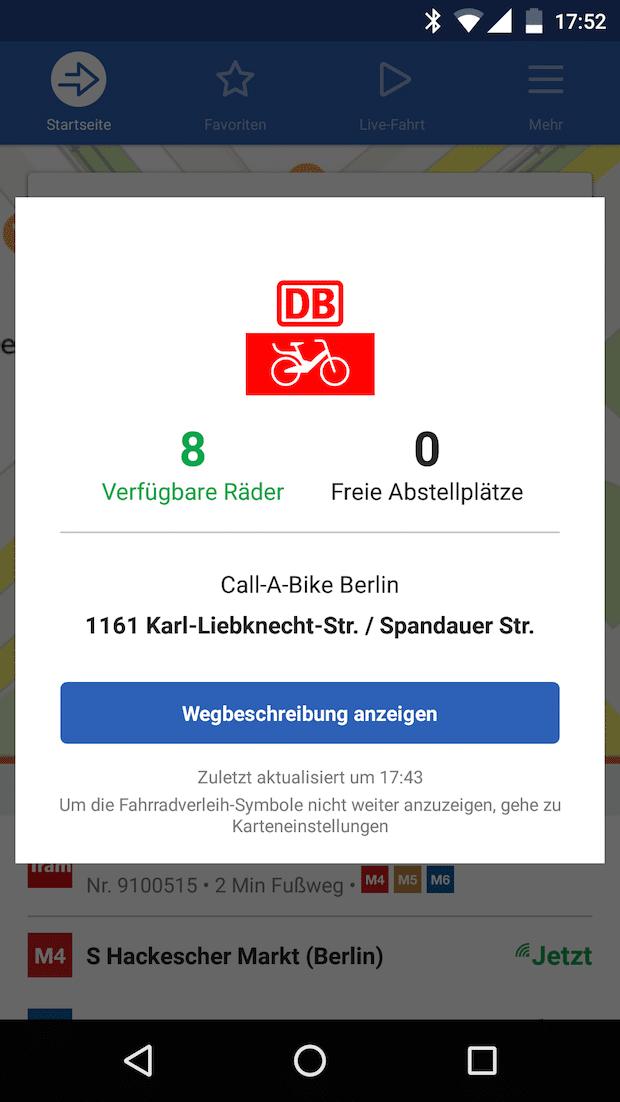 Bild von Moovit integriert Bikesharing