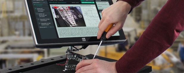 Der Plant@Hand Werkstattwagen verbindet das bewährte Konzept des personalisierten Werkstattwagens mit intelligenter vorausschauender Informationsunterstützung für den Mitarbeiter - (Nutzungsrechte: Fraunhofer IGD)