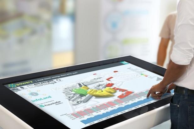 Mit InfoLand können komplexe Sachverhalte interaktiv und spielerisch erlebbar gemacht werden, so zum Beispiel die Energiewerte eines Universitätscampus. - Nutzungsrechte: Fraunhofer IGD