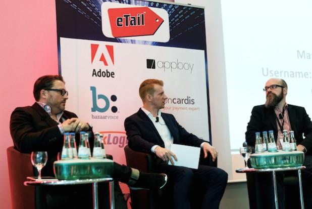Stefan Wenzel (Brands4friends/Ebay), Hartmut Deiwick (Aponeo) und Erik Meierhoff (Rakuten) am 8. März 2016 auf der Etail Deutschland. - Foto: Jason Ahluwalia