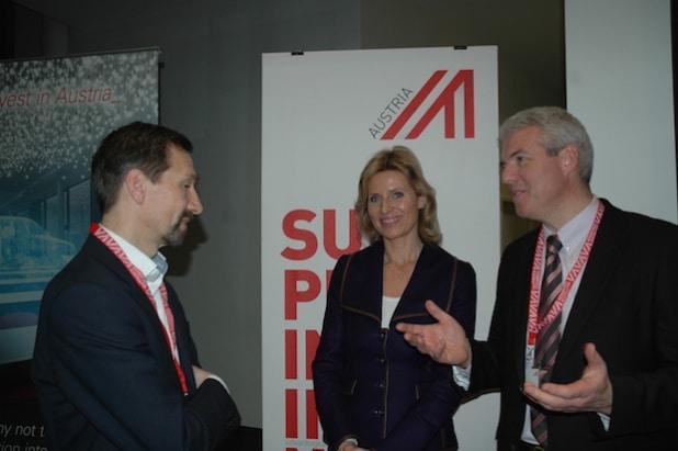 Stefan Poledna/TTTech, Moderatorin Anouschka Horn, Ralf Memmel/Infineon - © ABA - Invest in Austria / Doris Dobida