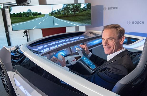 "Dr. Volkmar Denner, Vorsitzender der Geschäftsführung der Robert Bosch GmbH, bei der Bilanzpressekonferenz am Bosch-Forschungscampus in Renningen am 27. April 2016. Quelle: ""obs/Robert Bosch GmbH"""