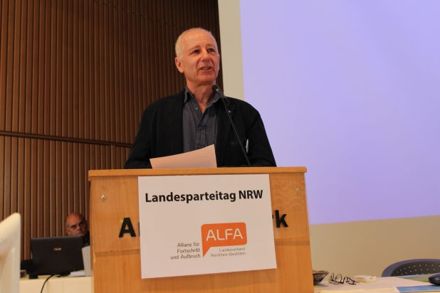 ALFA Landeschef Prof. Ulrich van Suntum freute sich über einen sehr harmonischen Landesparteitag.