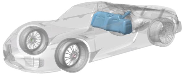 Einbausituation der Drucktanks im Supersportwagen Porsche 918 Spyder. Graphik: Porsche AG