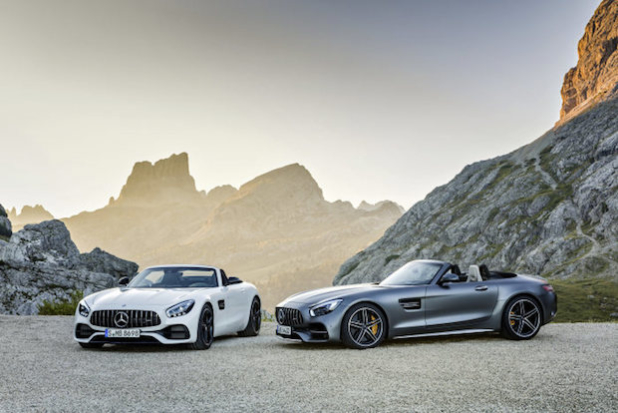 AMG GT  Roadster und AMG GT C Roadster (R 190), 2016;Kraftstoffverbrauch kombiniert: 11,4 - 9,4 l/100 km, CO2-Emissionen kombiniert: 259-219 g/km//AMG GT  Roadster and AMG GT C Roadster (R 190), 2016; fuel consumption, combined: 11.4-9.4 l/100 km; combined CO2 emissions: 259-219 g/km  (Quelle: Daimler)
