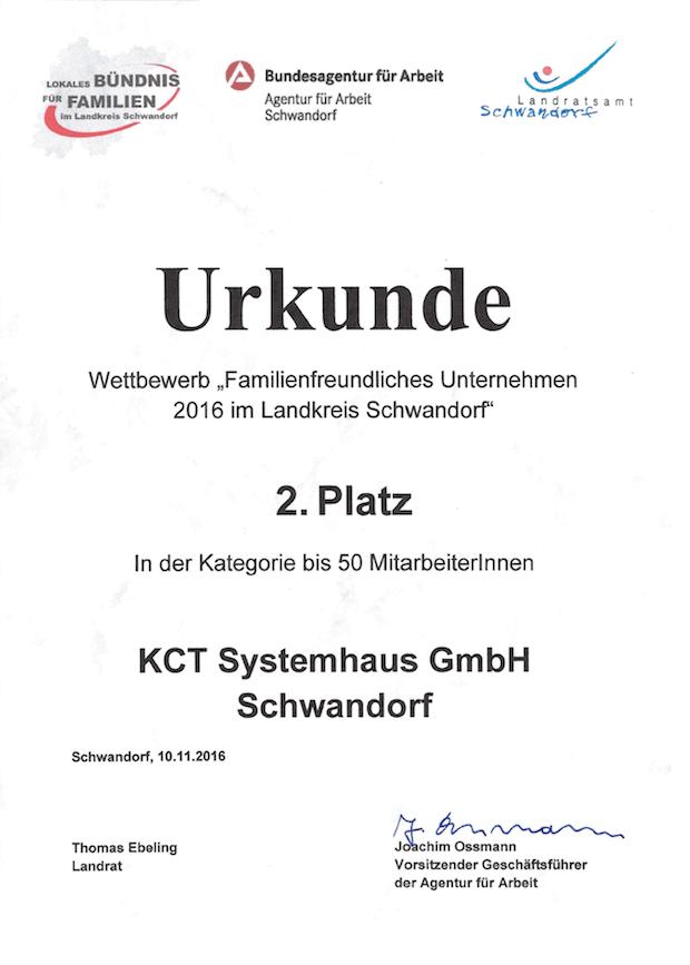 """Bild von Ausgezeichnet: KCT Systemhaus bei Wettbewerb als """"Familienfreundliches Unternehmen"""" prämiert"""