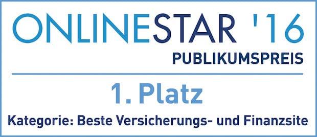 Bild von OnlineStar 2016:  FINANZCHECK.de ist beste Versicherungs- und Finanzsite
