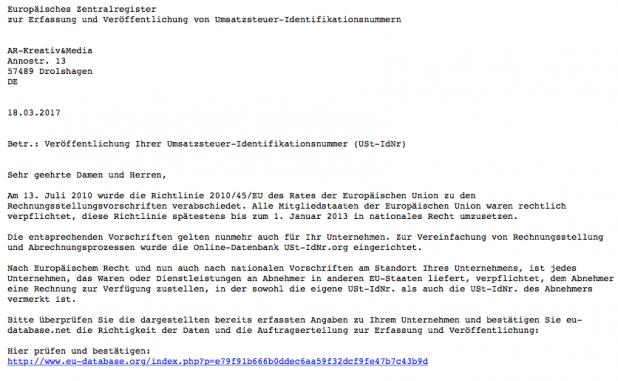 Vorsicht: Angebliche Mail von einem Europäisches Zentralregister ... am besten ignorieren!
