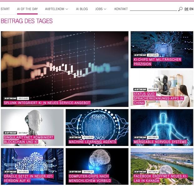 """Bild von Zone implementiert Newsblog """"AI News Of The Day"""" für Telekom"""