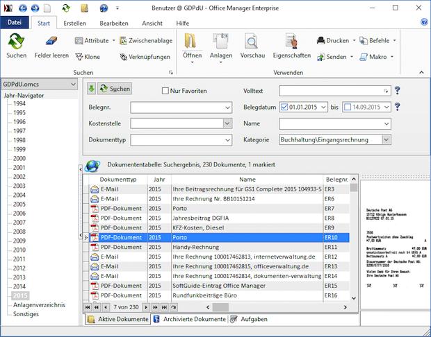 Falcon Center verwaltet Dokumente mit Office Manager DMS
