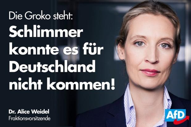 Alice Weidel sieht in der GroKo das Worst Case Szenario
